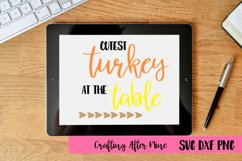 Cutest turket at the table Svg, Holiday Svg, Thanksgiving Product Image 1
