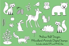 Woodland Animals Digital Stamps Clipart Product Image 1