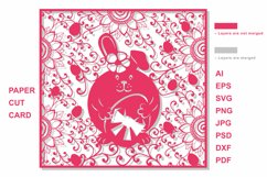 Easter Eggs Card SVG Cut file for Crafters. Bunny cut Product Image 2