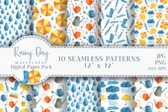 Watercolor Rain Digital Paper Pack. Spring Seamless Patterns Product Image 1