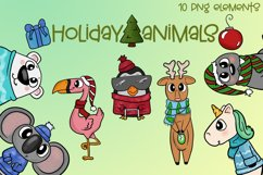 Holiday Animals|Animal Christmas Illustrations|PNG Files Product Image 1