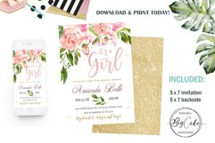 Invitation Blush Pink Floral Baby Shower Its a girl Product Image 1