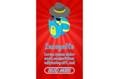 Incognito concept banner, comics isometric style Product Image 1