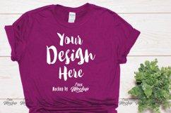 Berry Gildan 64000 T Shirt Mockup Product Image 1