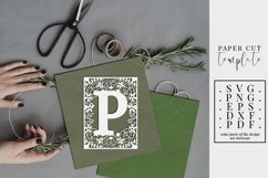 Floral frame letter P, single initial paper cut, wedding SVG Product Image 1