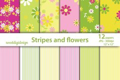 Flowers and stripes digital backgrounds Product Image 1
