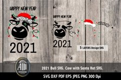 2021 SVG| 2021 New Year| Cow with Santa Hat SVG Product Image 2