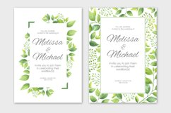 Green leaves wedding invitations set Product Image 3