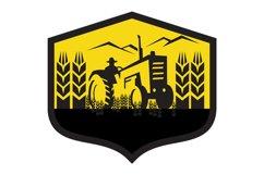 Tractor Harvesting Wheat Farm Crest Retro Product Image 1