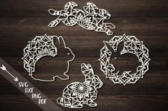 Mandala Easter bunnies cut out set svg dxf pdfcutting files Product Image 1
