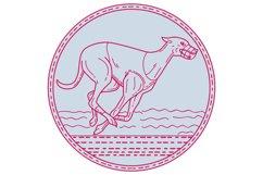 Greyhound Dog Racing Circle Mono Line Product Image 1