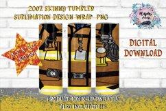 20oz  Yellow  Beige Uniform Fireman Sublimation Tumbler Wrap Product Image 1