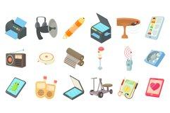 Electric device icon set, cartoon style Product Image 1