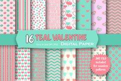 Teal Valentine Digital Paper Pack Product Image 1