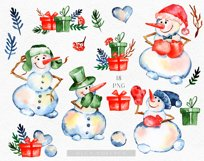 Watercolor snowman clipart, Cute Christmas diy Winter Product Image 6