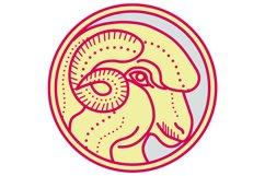 Merino Ram Sheep Head Circle Mono Line Product Image 1