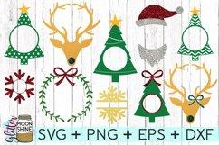 Christmas Monogram Frame Bundle SVG DXF PNG EPS Cut Files Product Image 1