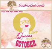 Black queens are born in October birthday t shirt design Product Image 6