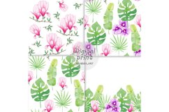 Watercolor Seamless Pattern Tropical leaves Orchidea Magnoli Product Image 2