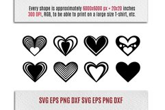 8 Hearts Laser Cut Files   Valentines SVG Product Image 2