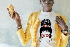 Messy Bun Mom SVG Mom Life Messy Bun Afro Women SVG Cut File Product Image 2