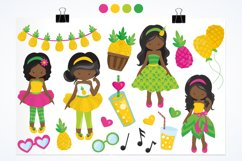 African American girls pineapple party graphics - vectors Product Image 4