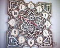 C16 - Laser Cut Wall Clock DXF, Mandala Clock, Wooden Clock Product Image 2