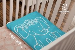 Little Elephant with Flowers Crown Svg , Baby Elephant Cut F Product Image 5