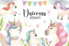 Watercolor Unicorns. Cliparts and Pattern Product Image 1