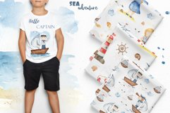 Watercolor Sea adventure. Clipart, seamless patterns, cards Product Image 10