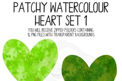 Patchy Watercolor Heart Clipart Set Product Image 3