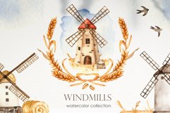 Watercolor Windmills. Cards, frames, wreaths, patterns Product Image 1