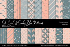 Soft Coral & Smoky Blue Digital Papers Product Image 1
