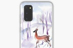 Watercolor illustration. Two roe deers in the winter forest Product Image 4