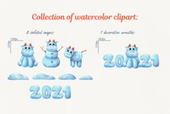 Christmas snow collection with bulls. Watercolor clipart Product Image 3