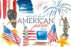 American Patriot Watercolor Clip Art Illustrations USA Product Image 1