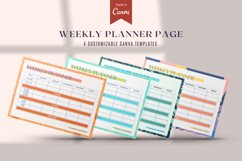 Weekly Planner Page, 4 Color Styles Canva Template Product Image 1