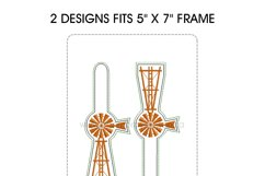 Farmhouse Windmill with Ladder Key Fob Embroidery Design Product Image 6