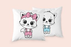 Cute Cat clipart, boy and girl, PNG, SVG, EPS Product Image 2