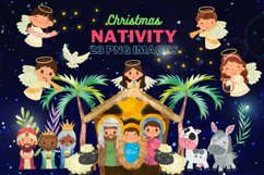 Nativity Clipart, religious illustration, Bible graphics Product Image 1