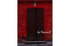 Vintage brown wooden door Antique building exterior detail Product Image 1