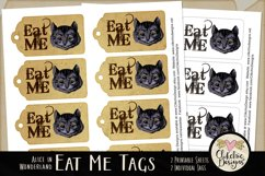 Alice in Wonderland Cheshire Cat Eat Me Printable Tags Product Image 3