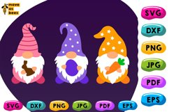 Three Easter Gnomies with Eggs Svg Easter Shirt Svg, Png Dxf Product Image 2