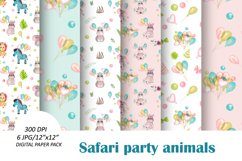 Baby animals birthday seamless pattern. African friends set Product Image 1