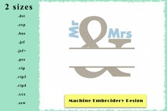 Mr & Mrs Split Name Frame - Machine Embroidery Designs Product Image 1