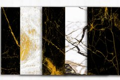 Marble Digital Papers, Gold Black White Marble Backgrounds Product Image 3