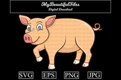 Pig SVG - Cartoon Animal SVG, EPS, PNG and JPG Product Image 1