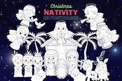 Nativity scene, Nativity Line Art, Coloring Clipart Product Image 1