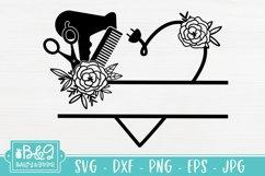 Hairdresser Monogram Split Frame SVG - Floral Heart Product Image 2