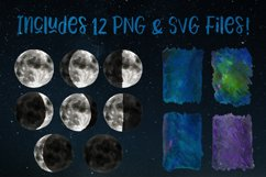 Watercolor & Vector Moon Phases Clip Art Product Image 2